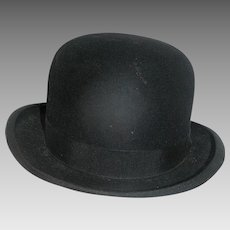 Vintage Men's Hat, Bowler, hand crafted, marked, early 20th c.