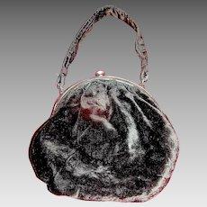 Vintage Ladies Purse Handbag in Curshed Velvet Black Mourning