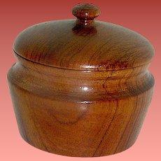 Vintage Wood Treen Burled Walnut Covered Trinket Box