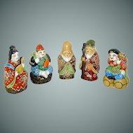 Vintage Japanese Porcelain Figurines signed Kutani
