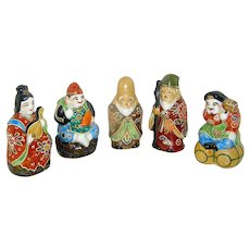 Vintage Japanese Porcelain Figurines of Ahrat gods and godesses circa 1920, signed Kutani