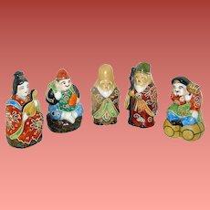 Vintage Japanese Porcelain Figurines of Ahrat gods and godesses circa 1920, signed Kutani