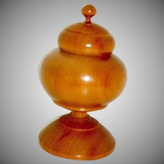 Vintage Wood Treen Turned Covered Round Box or Recepticle on a Pedestal
