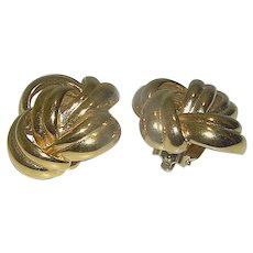 Vintage Givenchy Ear Rings Overlapping Design Celtic Look Marked