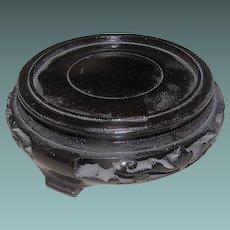 Vintage Oriental Round Wooden Stand Bonsai Vase Bowl