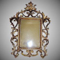 Antique Iron Rococo Picture Frame with All Orignal Gold Paint