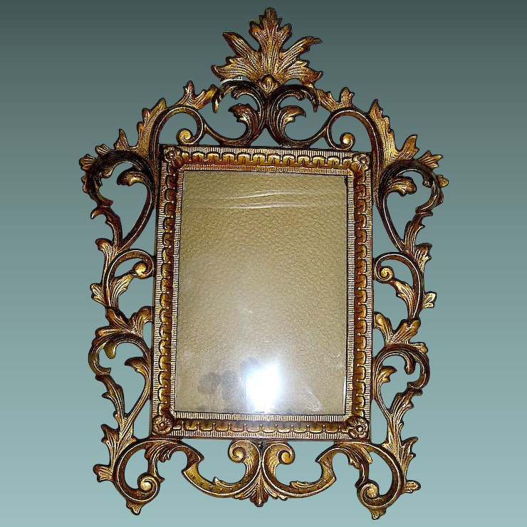 Antique Iron Rococo Picture Frame With Original Gold Paint Line