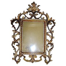 Antique Iron Rococo Picture Frame with Original Gold Paint