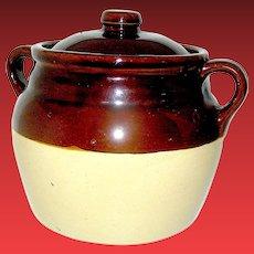 Vintage Stoneware Two handled Bean Pot Marked Monmouth, Ill. USA