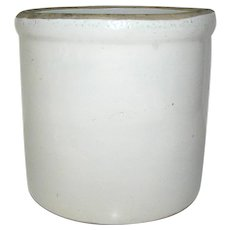 Primitive Stoneware Crock In Gray