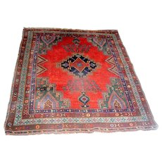 Vintage Oriental Kazak Rug Carpet Red and Blue Semi