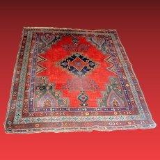 Vintage Oriental Kazak Rug Carpet Red and Blue early 20th c.