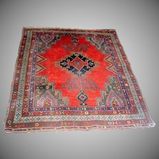 Vintage Oriental Kazak Rug Carpet Red and Blue early 20th c.