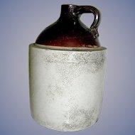 Primitive Rustic Stoneware Whiskey Jug