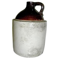 Primitive Rustic Stoneware Whiskey Jug 19th. c.