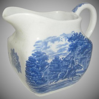 Vintage Staffordshire Pottery Pitcher Liberty Blue Historic Colonial Scenes Pattern Paul Revere