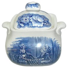 Vintage Ceramic Creamer Liberty Blue, Historic Colonial Scenes Betsy Ross Made in England.