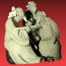 Vintage figurine or state of Korean Mud Men Grouping of Scholars or Teachers