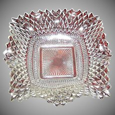 Vintage Anchor Hocking Diamond Quilted Clear Glass Dish