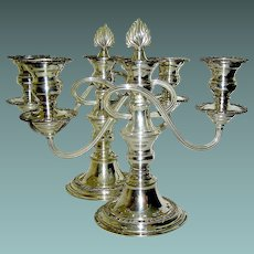 Vintage Pair of Matching Silverplate Candlelabrum- Three Candles Each-Lloyd Pascal & Co.