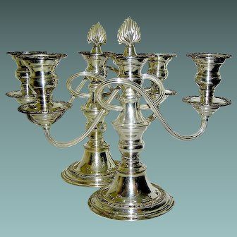 Vintage Pair of Matching Silverplate Candlelabrum- Three Candles