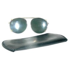 Vintage Expandable Clip-on Sunglasses with Leather Case