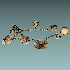 Vintage Vermeil Silver Bracelet with 8 Charms