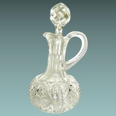 Vintage blown pressed glass cruet with original stopper