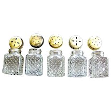 Vintage miniature clear glass salt and pepper shakers 5