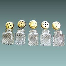 Vintage miniature clear glass salt and pepper shakers set of 5 matching Mid 20th c.