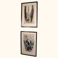 Pair Alonzo Webb prints, signed, Chicago, 1930