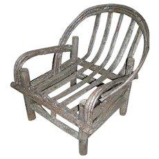 Vintage Bent Split Wood Adirondack Chair New York State