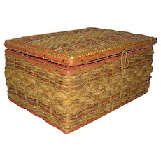 Vintage wicker Sewing Basket with tufted silky satin interior