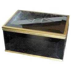 Vintage Black Green Glass Jewelry Trinket Box with Art Deco Motif