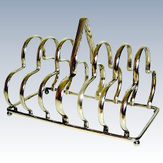 Vintage silverplate toast rack six slots