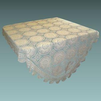 Vintage Ecru Handmade Crochet Tablecloth