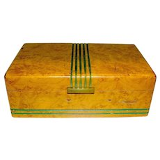 Vintage Elegant Maple Trinket Box Deco early 20th c.