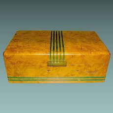 Vintage Elegant Maple Trinket Box Deco early 20th c.