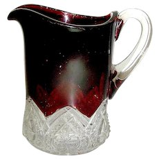 EAPG Ruby flashed small pitcher circa 1900