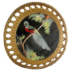 Vintage Feathered Peacock Wicker Wallhanging Framed in a Basket