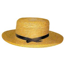 Vintage Mens Straw Amish Hat