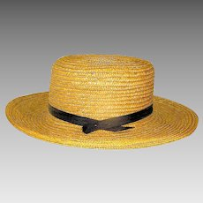 Vintage Mens Straw Amish Hat