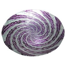 Art Glass Center Bowl or Dish in Purple and Silver