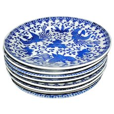 Set of Vintage Japanese Phoenix Salad Plates blue and white