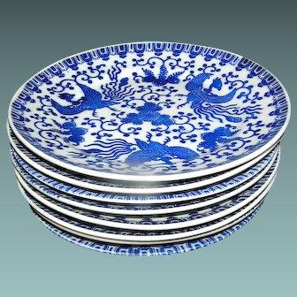 Set of Vintage Japanese Phoenix Salad Plates blue and white