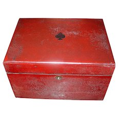 Antique Primitive Red Wooden Game Box with Decorative Spade
