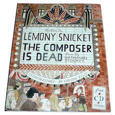 Vintage book, The Composer Is Dead, Stookey, illust. by Carson Ellis, First edition