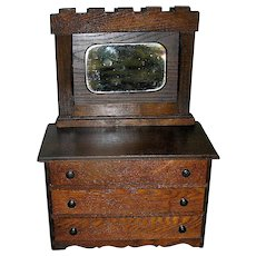 Primitive, Rustic, Miniature, Chest of Drawers or Dresser, circa 1900