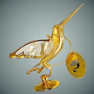 Vintage figurine of a hummingbird, gold plated and crystal