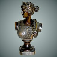 Signed Bronze Statue of Diana by Eugen Bomel dated 1895
